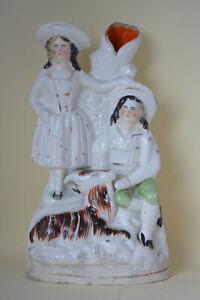 Antique Staffordshire Flatback China Figurine Figures Spill Vase Couple & Goat