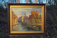 exquisites Ölgemälde Boote in der Gracht 57 x 47 cm Impressionist Künstlerarbeit