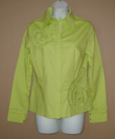 Womens Size Small Long Sleeve Green Beaded Sequined Fall Blouse Top Shirt