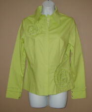 Womens Size Small Long Sleeve Fall Fashion Green Beaded Sequin Blouse Top Shirt