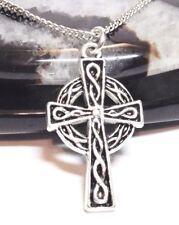 "CELTIC CROSS_Pendant + 20"" Chain Link Necklace_Irish Knot Trinity Christian_188N"