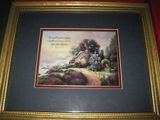 Vintage Thomas Kinkade Framed Accent Print Psalm 37:6-Comes With Coa