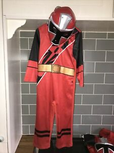 Red Ninja Steel Power Rangers Fancy Dress Up Costume Age 3-4 Small Stains No.26