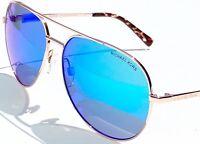 NEW* MICHAEL KORS AVIATOR 58mm ROSE GOLD BLUE Mirror MK5009 Rodinara Sunglass