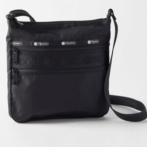 Le SportSac Candace Crossbody Slim Bag Zip Top 2 Zip Outer Pockets Black Travel