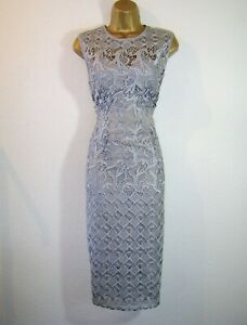 GORGEOUS SAGE SILVER GREY LACE EVENING PARTY OCCASION DRESS SIZE 12