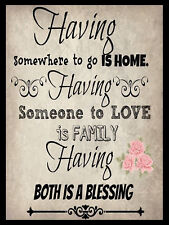 METAL VINTAGE SHABBY-CHIC TIN SIGN HOME AND FAMILY PRINT WALL PLAQUE