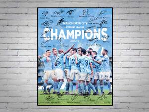 Manchester City FC Premier League Champions 2020 2021 Signed A4 Poster Print