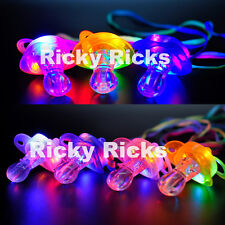 12 PCS Light Up Pacifiers LED Rave Party Glow Glowing Whistle Flashing Lanyard