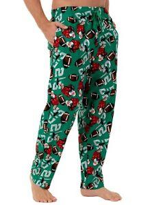 Fruit of the Loom Santa Playing Football Christmas Fleece Sleep Pants Mens M-5XL