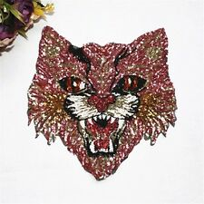 Pink Angry Cat Sequin Embroidered Sew On Patch Fashion Applique DIY Clothing
