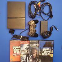 PlayStation 2 PS2 Slim Bundle OEM Controller OEM Power Supply 4 Games RCA cord