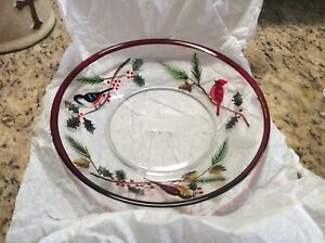 New Open Box Yankee Candle Jar Candle Tray, Plate Winter Birds 1207218 Cardinal