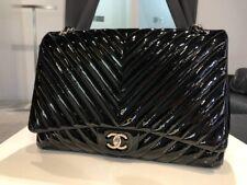 Chanel Classic Flap Bag Jumbo Chevron Black patent leather
