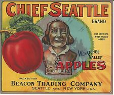 Chief Seattle Brand Apples Original Wenatchee Washington Apple Crate Label