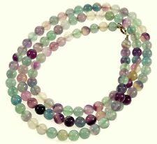 "VTG STERLING ADORABLE HARMONIZING COLORS FLUORITE BEAD NECKLACE 36"" LONG"