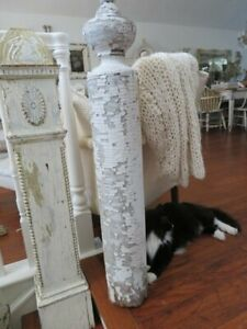 OMG Old Vintage Salvaged WOOD NEWEL POST COLUMN Chippy White Patina Finial Top