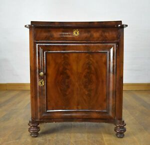 Antique flame mahogany concave - reverse bow front cupboard / cabinet