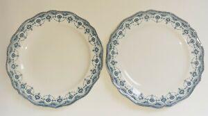 """2 Royal Doulton blue APSLEY tea side plates No 574940 7¼"""" 18.5cm c1901-27"""