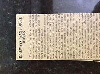 M3-8a ephemera 1941 dagenham article ww2 railways need women workers