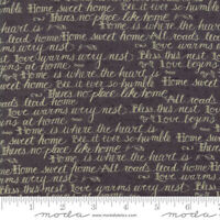 Moda Quilt Fabric Home Script by Kathy Schmitz color Slate by half-yard #7011 11