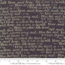 Moda Quilt Fabric Home Script by Kathy Schmitz color Slate by half-yard #7011 11