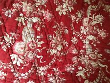 French Antique Red & White Fabric Quilt Floral Hand Stitched Cotton Ticking