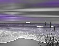 Coastal Ocean Beach Home Decor, Purple Gray Bathroom Bedroom Wall Art Picture