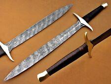 "Beautiful Custom Damascus Hunting ""The Hobbit Sword"" with brass handle"
