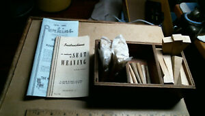 Seat Weaving Instructions + Catalog + wood pins + wedges + box antique old chair
