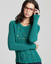 M - MARC BY MARC JACOBS Uma Cable Knit Merino Wool Pullover Sweater - Green $248