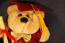 "Tan Graduation Bear Glasses Red Cap Gown 7"" Plush Stuffed Animal Lovey"