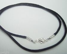 "EXTRA LONG 42"" Black PENDANT Cord Chain rope Necklace Handmade Lobster Clasp"