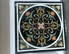 "30"" black marble table top dining center inlay lapis handmade decor c142"