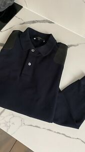 Genuine Men's Navy Gucci Polo Shirt Leather Shoulder Detail Uk Large