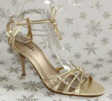 "Faith Gold Metallic Strappy Faux Leather 3.5"" Heels Wedding Prom Size UK 6 EU 39"