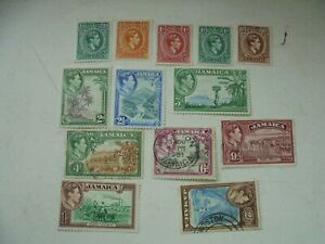 13 stamps from Jamaica KGVI 1/2d to 3d all MM 4d-2/- all FU