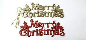 RED & GOLD GLITTER MERRY CHRISTMAS HANGING SIGN DECORATION XMAS TREE XMAS GIFT