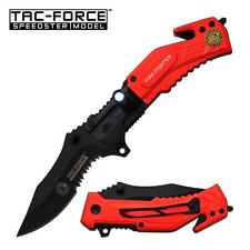 Tac-Force LED Fire Fighter Fire Dept Rescue Spring Assist Assisted Knife #874FD