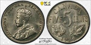 1924 Canada 5 Cents PCGS AU58 Lot#G467 Nice Example!