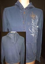 Ralph Lauren Womens Hoodie Sweatshirt Jacket Coat Blue  Button Front Sz S Small