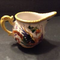 Vintage Porcelain Creamer Pitcher Hand Painted Colorful  Italy