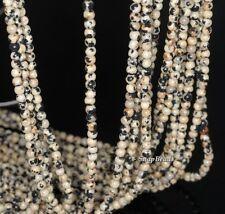 "3Mm Poppy Seed Dalmation Jasper Gemstone Black White Round 3Mm Loose Beads 16"""