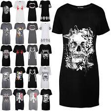 Womens Ladies Baggy Tunic Halloween Skeleton Bones Heart T Shirt Mini Dress Top