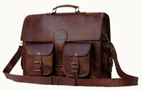 Large Vintage Goat Leather Laptop Messenger Crossbody Satchel Bag Office Work