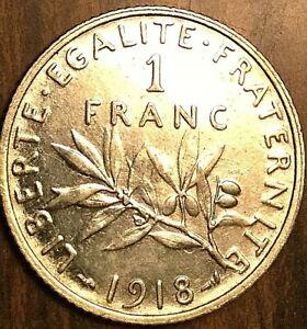1918 FRANCE SILVER 1 FRANC COIN SEMEUSE