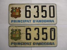 PAIR 1950s 1960s Andorra  License Plate Tag