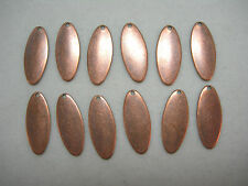 Antiqued Copper Plated Brass Oval Earring Drop Stamping 12
