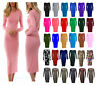 Ladies Women LONG SLEEVE MIDI DRESS STRETCH BODYCON PLAIN PRINTED TOP ALL SIZE