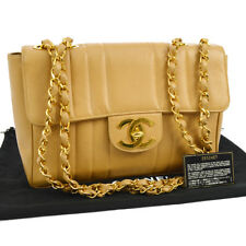 Auth CHANEL Jumbo Quilted CC Double Chain Shoulder Bag BE Caviar Leather N20327